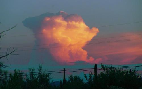 thunder clouds at sunset